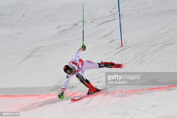TOPSHOT Marcel Hirscher of Austria crosses the finnish line to win the men's slalom event at the FIS Alpine World Cup in Schladming Austria on...