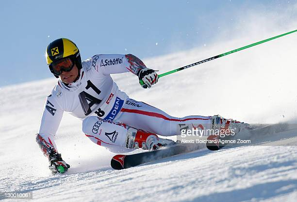 Marcel Hirscher of Austria during the Audi FIS Alpine Ski World Cup Men's Giant Slalom on October 23 2011 in Soelden Austria