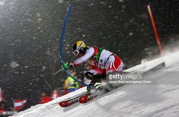 Marcel Hirscher of Austria during the Audi FIS Alpine Ski World Cup Men's Slalom on January 26 2010 in Schladming Austria