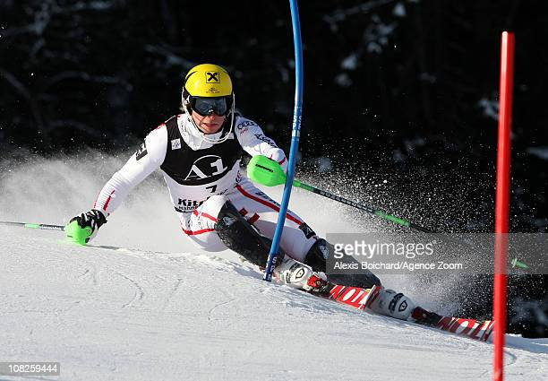 Marcel Hirscher of Austria during the first run of the Audi FIS Alpine Ski World Cup Men's Slalom on January 23 2011 in Kitzbuehel Austria