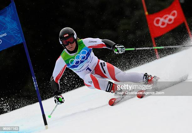 Marcel Hirscher of Austria during the MenÕs Alpine Skiing Giant Slalom on Day 12 of the 2010 Vancouver Winter Olympic Games on February 23 2010 in...
