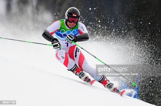 Marcel Hirscher of Austria during the Men's Alpine Skiing Giant Slalom on Day 12 of the 2010 Vancouver Winter Olympic Games on February 23 2010 in...