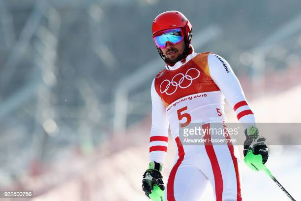 Marcel Hirscher of Austria fails to finish during the Men's Slalom on day 13 of the PyeongChang 2018 Winter Olympic Games at Yongpyong Alpine Centre...