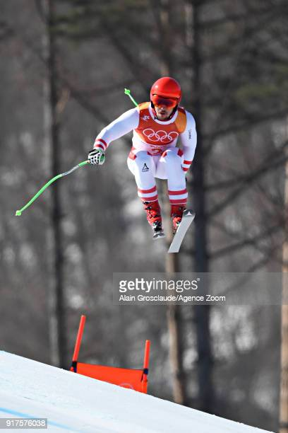 Marcel Hirscher of Austria in action during the Alpine Skiing Men's Combined at Jeongseon Alpine Centre on February 13 2018 in Pyeongchanggun South...