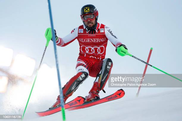 Marcel Hirscher of Austria in action during the Audi FIS Alpine Ski World Cup Men's Slalom on November 18 2018 in Levi Finland