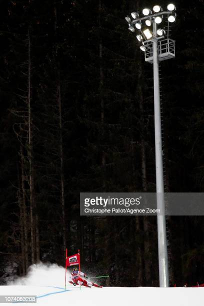 Marcel Hirscher of Austria in action during the Audi FIS Alpine Ski World Cup Men's Giant Slalom on December 16 2018 in Alta Badia Italy