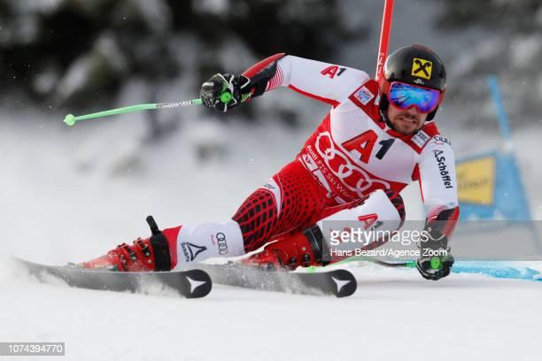Marcel Hirscher of Austria in action during the Audi FIS Alpine Ski World Cup Men's Giant Slalom on December 19 2018 in Saalbach Austria