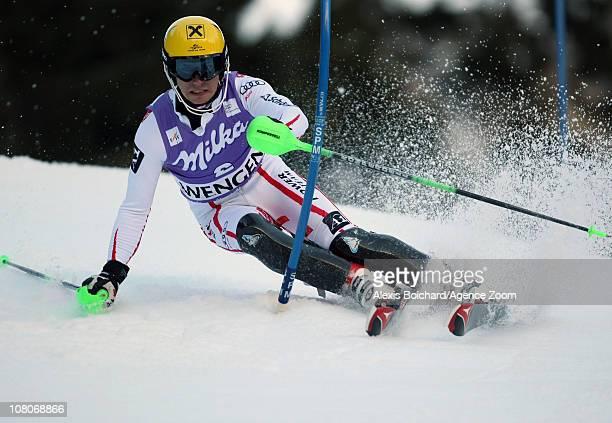 Marcel Hirscher of Austria in action during the Audi FIS Alpine Ski World Cup Men's Slalom on January 16 2011 in Wengen Switzerland