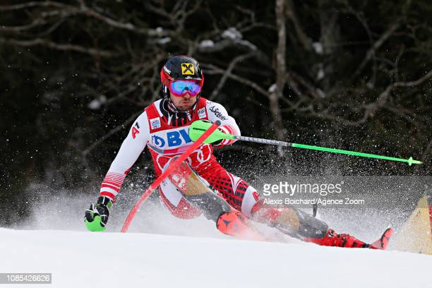 Marcel Hirscher of Austria in action during the Audi FIS Alpine Ski World Cup Men's Slalom on January 20 2019 in Wengen Switzerland