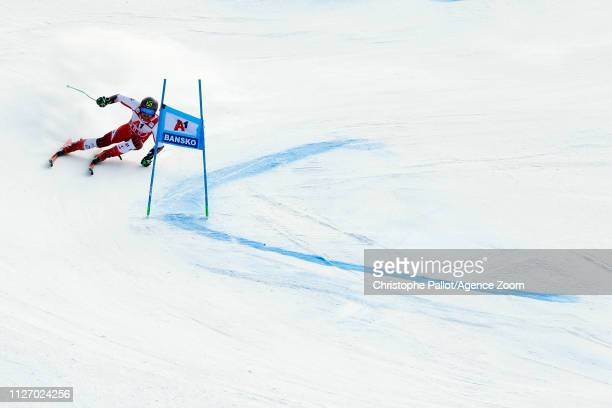 Marcel Hirscher of Austria in action during the Audi FIS Alpine Ski World Cup Men's Giant Slalom on February 24, 2019 in Bansko Bulgaria.