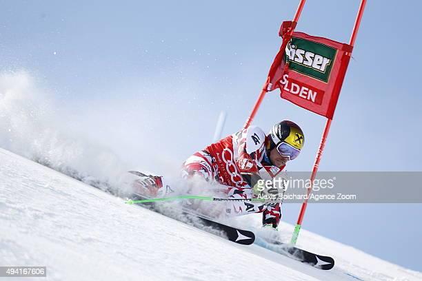 Marcel Hirscher of Austria in action during the Audi FIS Alpine Ski World Cup Men's Giant Slalom on October 25 2015 in Soelden Austria