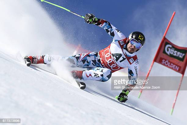 Marcel Hirscher of Austria in action during the Audi FIS Alpine Ski World Cup Men's Giant Slalom on October 23 2016 in Soelden Austria