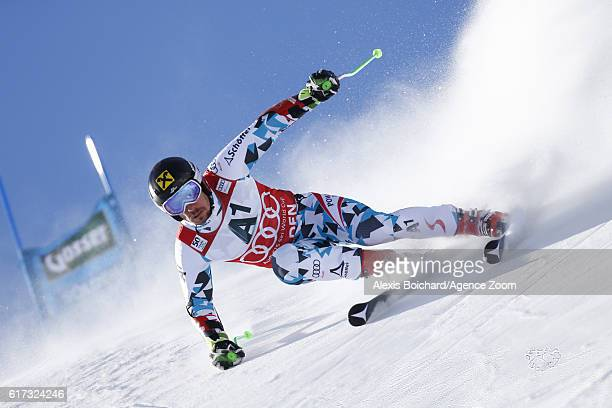 Marcel Hirscher of Austria in action during the Audi FIS Alpine Ski World Cup Men's Giant Slalom on October 23, 2016 in Soelden, Austria