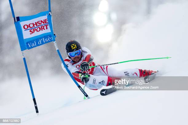 Marcel Hirscher of Austria in action during the Audi FIS Alpine Ski World Cup Men's Giant Slalom on December 9 2017 in Vald'Isere France