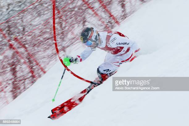 Marcel Hirscher of Austria in action during the Audi FIS Alpine Ski World Cup Men's Slalom on December 10 2017 in Vald'Isere France