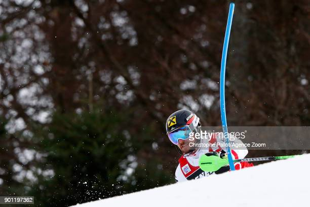 Marcel Hirscher of Austria in action during the Audi FIS Alpine Ski World Cup Men's Slalom on January 4 2018 in Zagreb Croatia
