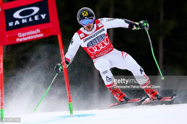 Marcel Hirscher of Austria in action during the Audi FIS Alpine Ski World Cup Men's Giant Slalom on January 28 2018 in GarmischPartenkirchen Germany
