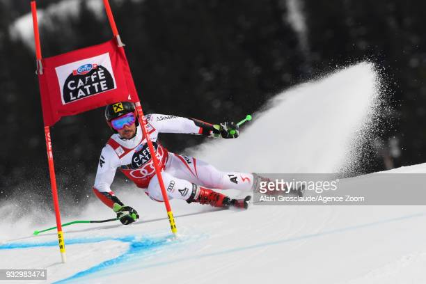 Marcel Hirscher of Austria in action during the Audi FIS Alpine Ski World Cup Finals Men's Giant Slalom on March 17 2018 in Are Sweden