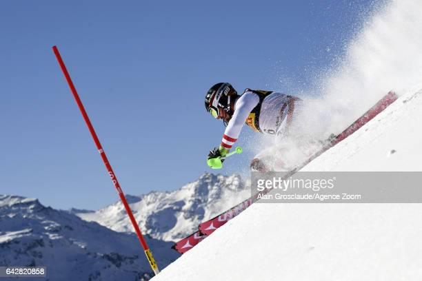 Marcel Hirscher of Austria in action during the FIS Alpine Ski World Championships Men's Slalom on February 19 2017 in St Moritz Switzerland