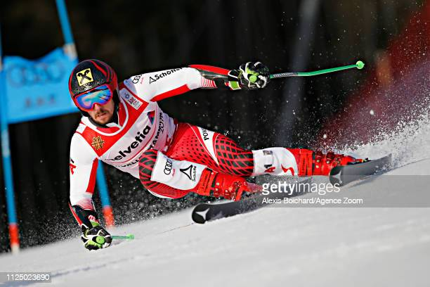Marcel Hirscher of Austria in action during the FIS World Ski Championships Men's Giant Slalom on February 15 2019 in Are Sweden