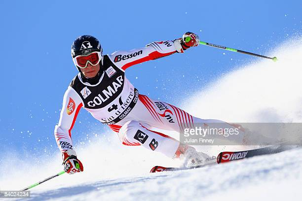 Marcel Hirscher of Austria in action during the Men's Giant Slalom at the FIS Skiing World Cup on December 13 2008 in Val d'Isere France