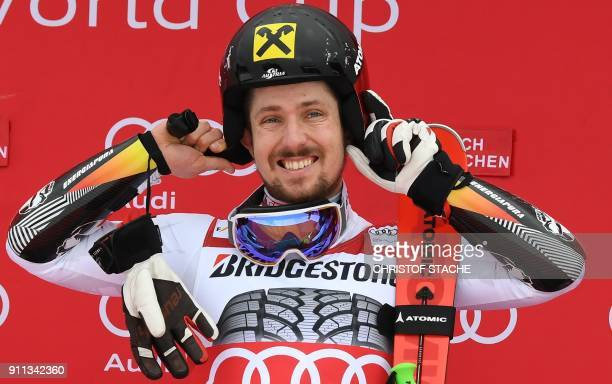 Marcel Hirscher of Austria is seen on the podium after winning the men's Giant Slalom at the FIS Alpine Skiing World Cup in GarmischPartenkirchen...