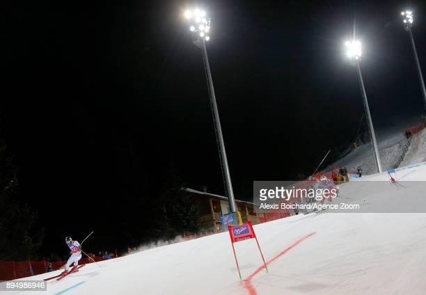 Marcel Hirscher of Austria Kjetil Jansrud of Norway competes during the Audi FIS Alpine Ski World Cup Men's Parallel Giant Slalom on December 18 2017...