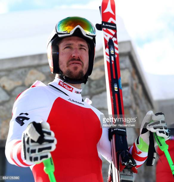 Marcel Hirscher of Austria looks on after the FIS Alpine Ski World Championships Men's downhill training on February 7 2017 in St Moritz Switzerland