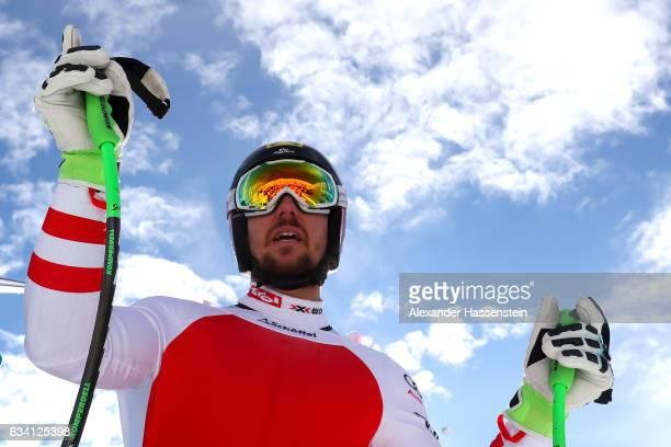Marcel Hirscher of Austria looks on after the FIS Alpine Ski World Championships Men's downhill training on February 7 2017 in St Moritz Switzerland