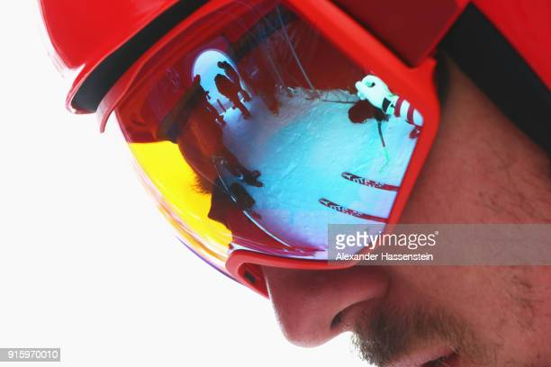 Marcel Hirscher of Austria looks on during the Men's Downhill Alpine Skiing training at Jeongseon Alpine Centre on February 9 2018 in Pyeongchanggun...