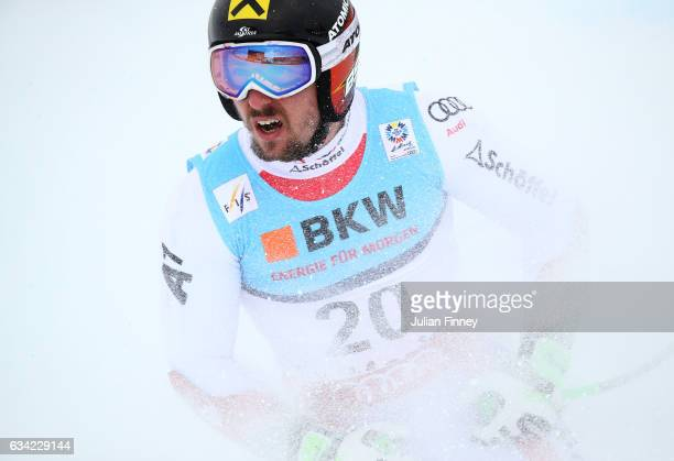 Marcel Hirscher of Austria looks to the scoreboard after finishing his run during the Men's Super G during the FIS Alpine World Ski Championships on...