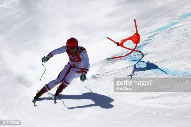 Marcel Hirscher of Austria makes a run during the Men's Alpine Combined Downhill on day four of the PyeongChang 2018 Winter Olympic Games at...
