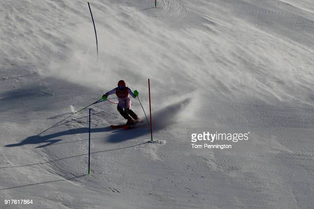 Marcel Hirscher of Austria makes a run during the Men's Alpine Combined Slalom on day four of the PyeongChang 2018 Winter Olympic Games at Jeongseon...