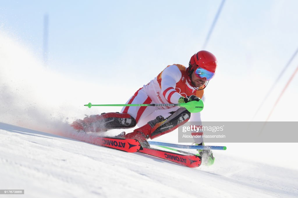 Marcel Hirscher of Austria makes a run during the Men's Alpine Combined Slalom on day four of the PyeongChang 2018 Winter Olympic Games at Jeongseon Alpine Centre on February 13, 2018 in Pyeongchang-gun, South Korea.