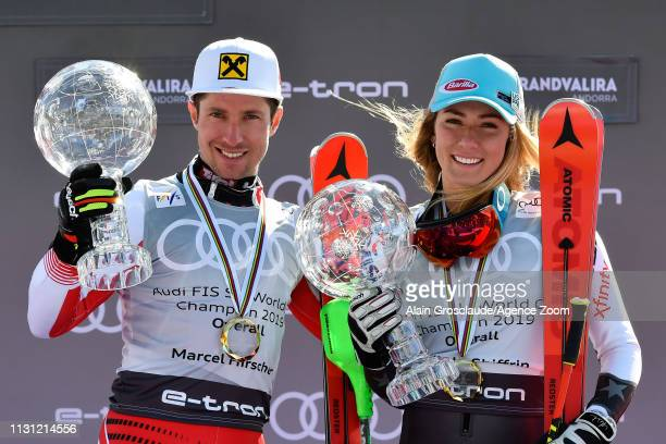 Marcel Hirscher of Austria Mikaela Shiffrin of USA take 1st place in the overall standings during the Audi FIS Alpine Ski World Cup Men and Women on...