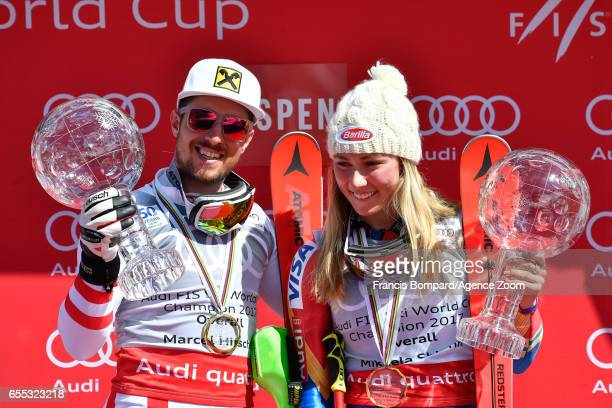 Marcel Hirscher of Austria Mikaela Shiffrin of USA win the globe in the overall standings during the Audi FIS Alpine Ski World Cup Finals Women's and...