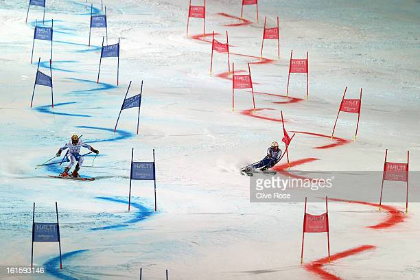 Marcel Hirscher of Austria races against Mattias Hargin of Sweden as they ski in the Men and Women's Nations Team Event during the Alpine FIS Ski...