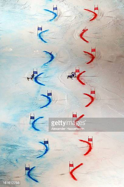 Marcel Hirscher of Austria races against Mattias Hargin of Sweden in the final of the Men and Women's Nations Team Event during the Alpine FIS Ski...