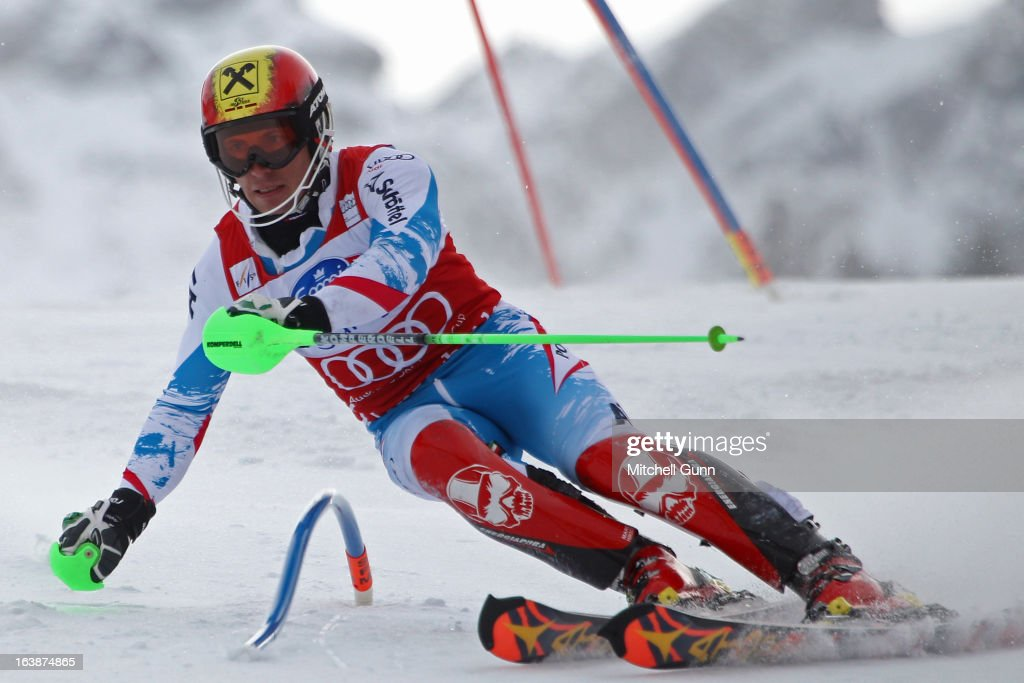 Marcel Hirscher of Austria races down the course competing in the Audi FIS Alpine Skiing World Cup Finals slalom race on March 17, 2013 in Lenzerheide, Switzerland,