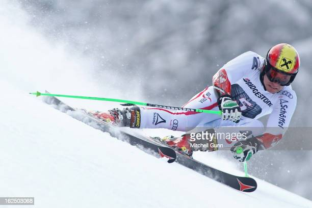 Marcel Hirscher of Austria races down the course whilst competing in the Audi FIS Alpine Ski World Cup Men's Giant Slalom on February 24 2013 in...
