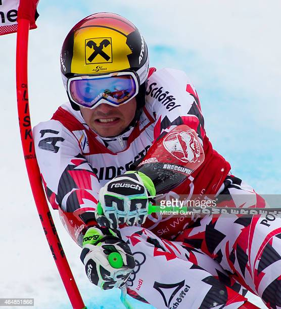 Marcel Hirscher of Austria races down the Kandahar course during the Audi FIS Alpine Ski World Cup giant slalom race on March 1 2015 in...