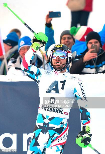 Marcel Hirscher of Austria reacts after his second run of the Men's Slalom event of the FIS Alpine Skiing World Cup at the Hahnenkamm in Kitzbuehel...