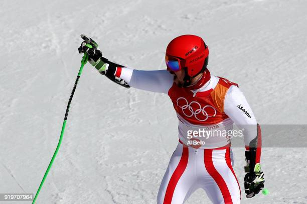 Marcel Hirscher of Austria reacts at the finish during the Alpine Skiing Men's Giant Slalom on day nine of the PyeongChang 2018 Winter Olympic Games...