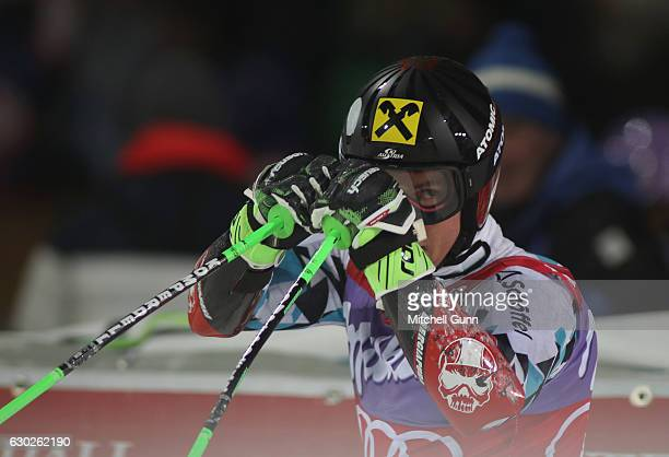 Marcel Hirscher of Austria reacts in the finish area during the Audi FIS Alpine Ski World Cup Men's Parallel Giant Slalom race on December 19 2016 at...
