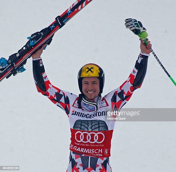 Marcel Hirscher of Austria reacts in the finish area of the Audi FIS Alpine Ski World Cup giant slalom race on March 1 2015 in GarmischPartenkirchen...