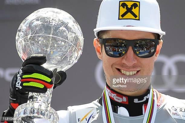 Marcel Hirscher of Austria Ski Team win the Cristal Globe of Men's Giant Slalom Audi FIS Ski World Cup on March 16 2019 in El Tarter Andorra