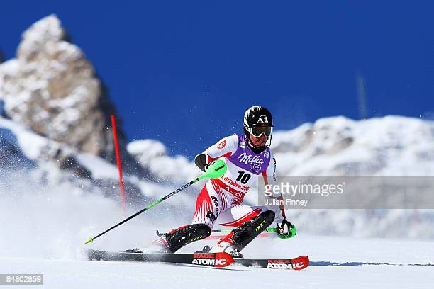 Marcel Hirscher of Austria skis during the Men's Slalom event held on the Face de Bellevarde course on February 15 2009 in Val d'Isere France