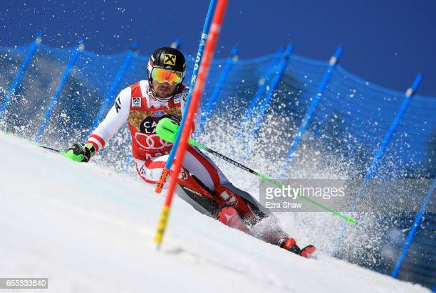 Marcel Hirscher of Austria skis his second run in the men's slalom during the 2017 Audi FIS Ski World Cup Finals at Aspen Mountain on March 19 2017...
