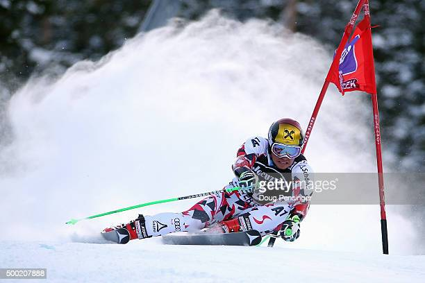 Marcel Hirscher of Austria skis the course during the first run of the giant slalom at the 2015 Audi FIS Ski World Cup on December 6 2015 in Beaver...