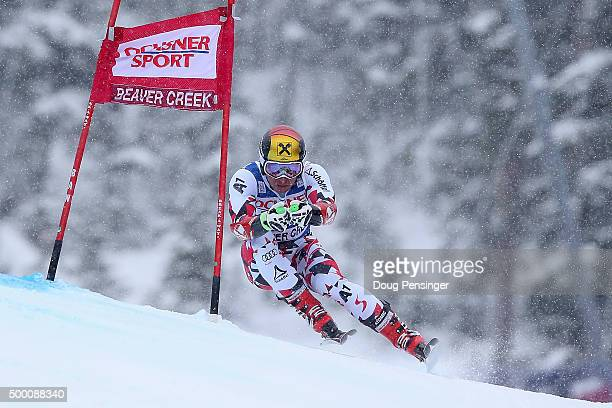 Marcel Hirscher of Austria skis to first place in the men's Super G at the 2015 Audi FIS Ski World Cup on the Birds of Prey on December 5, 2015 in...